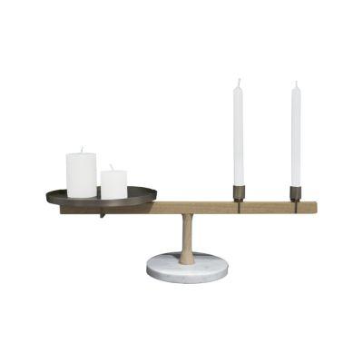 Balance Candleholder II White Carrara Marble