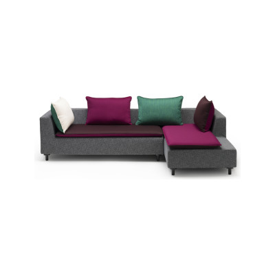 Barbican L-Shaped Sofa with 4 cushions Black, Jet Turquoise/Light Green, Melange Nap Pebble/Moss