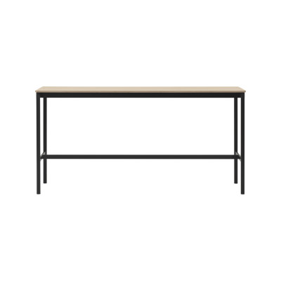 Base High Table 160 Oak Veneer Top, Plywood Edge, Black Base,160 x 80, 105