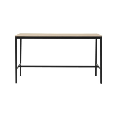 Base High Table 190 Oak Veneer Top, Plywood Edge, Black Base, 105,190 x 85