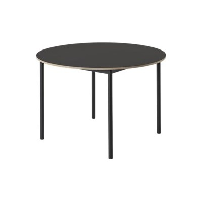 Base Round Table Black Linoleum Top, Plywood Edge, Black Base, 128