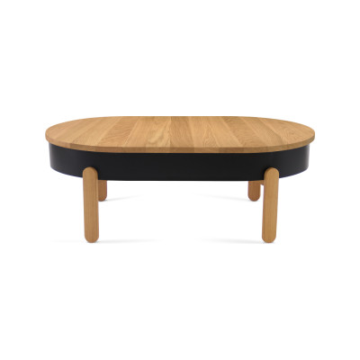 Batea L - Coffe table with storage Oak & Black