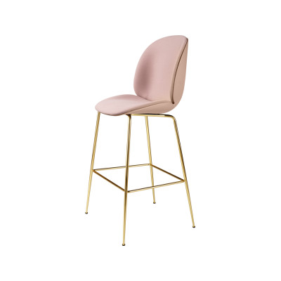 Beetle Bar Chair - Front Upholstered Shell Plastic Dark Pink, Leather Silk SIL0197 Cream, Frame Matt Black
