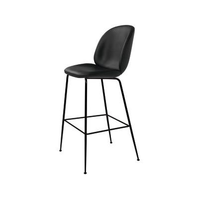 Beetle Bar Chair - Fully Upholstered San 130, Frame Black-Chrome, Black Fabric