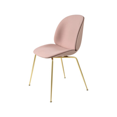Beetle Dining Chair - Conic Base - Front Upholstered Shell Valencia Türkis, Frame Black-Chrome, Plastic White