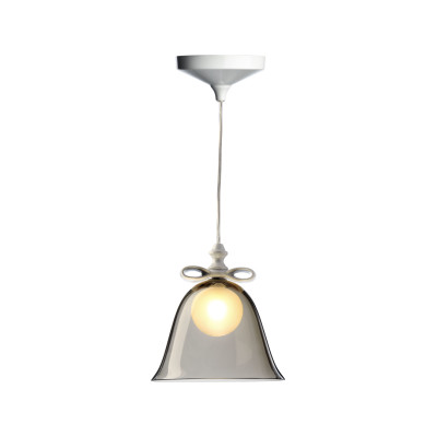 Bell Pendant Light Smoke Shade, White Bow, Large