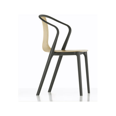Belleville Armchair with Wood Shell 68 Black ash