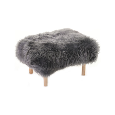 Bethan Sheepskin Footstool Slate Grey