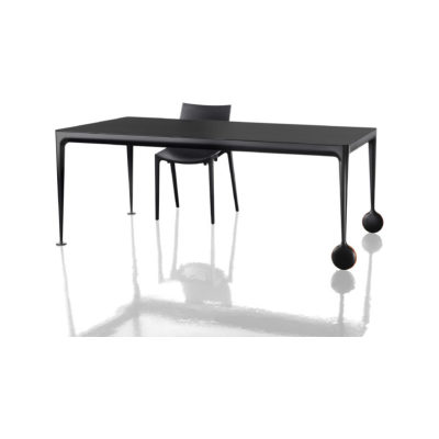 Big Will Extending  Table Black Frame, Natural Walnut Top and Black Leaf