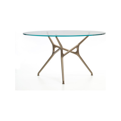 Branch Round Table ESSENZE_WOOD 188 RADICA DI NOCE, Polish chrome aluminium, Large