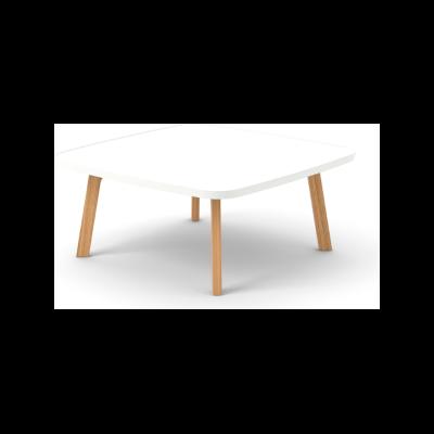 Breda Coffee Table, Square Super-Matt Oak, White Texturised Lacquered