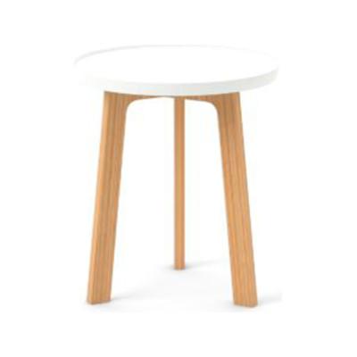 Breda Side Table White Texturised Lacquered, Super-Matt Oak