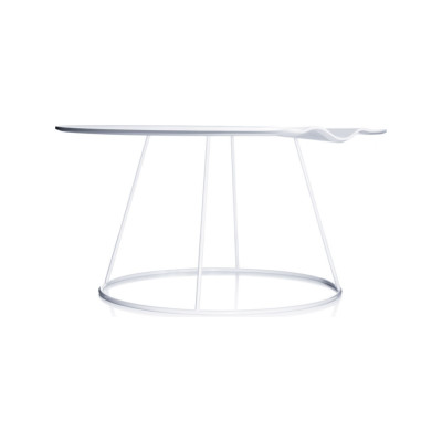 Breeze Table with Wavy Top 46 x 50cm, Ash Wood Black Lazur