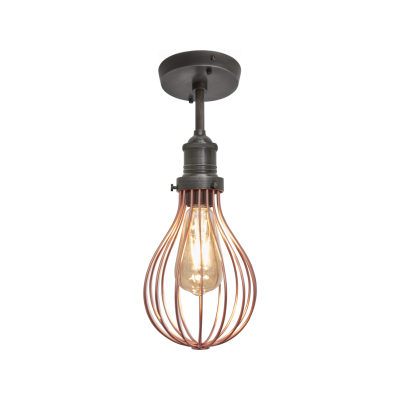 Brooklyn Balloon Cage Flush Mount - 6 Inch Brooklyn Balloon Cage Pendant - 6 Inch - Copper - Pewter Holder