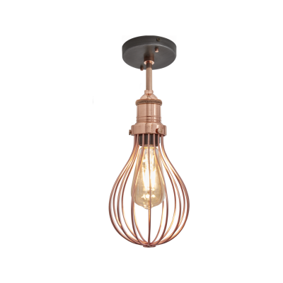 Brooklyn Balloon Cage Flush Mount - 6 Inch Brooklyn Balloon Cage Pendant - 6 Inch - Copper - Copper Holder