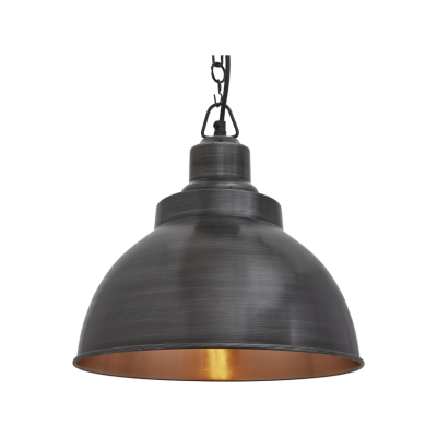Brooklyn Dome Pendant Light - 13 Inch Brooklyn Dome Pendant - 13 Inch - Pewter & Copper - Pewter Chain Holder