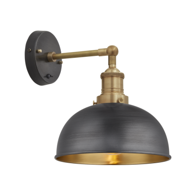 Brooklyn Dome Wall Light - 8 Inch Pewter & Brass Shade, Brass Holder