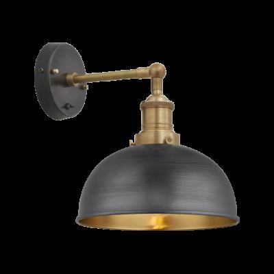 Brooklyn Dome Wall Light - 8 Inch Pewter & Brass Shade, Brass Holder