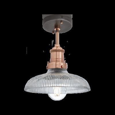 Brooklyn Glass Dome Flush Mount - 8 inch  Brooklyn Glass Dome Wall Light - 8 Inch - Copper Holder