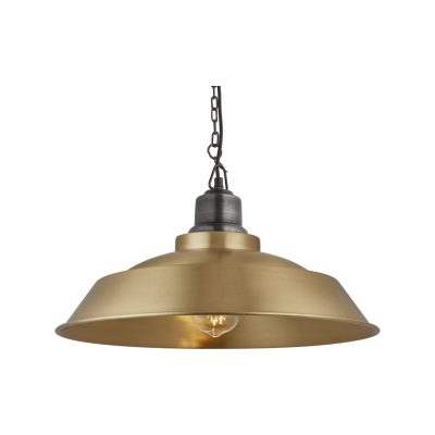 Brooklyn Step Pendant Light - 16 Inch Brooklyn Step Pendant - 16 Inch - Brass - Pewter Chain