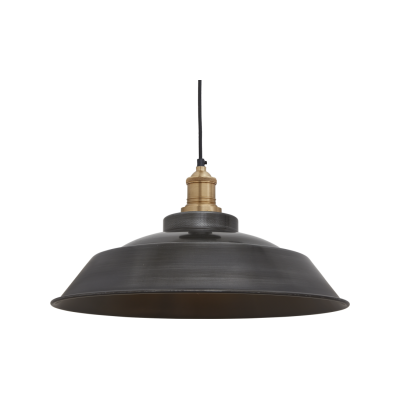 Brooklyn Step Pendant Light - 16 Inch Brooklyn Step Pendant - 16 Inch - Pewter - Brass Holder