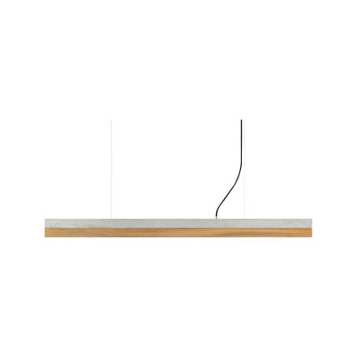 [C] Concrete & Oak Pendant Light (92cm or 122cm) Light Grey, 2700k, [C1] - 122cm