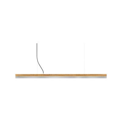 [C] Oak Wood & Stainless Steel Pendant Light (92cm, 122cm or 182cm) [C3o] - 182cm, 4000k
