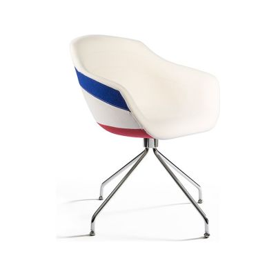 Canal Swivel Dining Chair with Steel Legs Galea - White