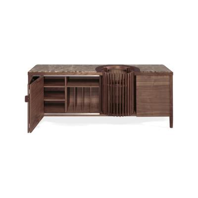 Carousel Sideboard Walnut Natural, Calcatta Marble