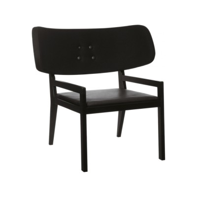 Cartoon Easy Chair with Leather Seat Oak Black Satin, Elmo Soft 99999, Europost 2 Colour 60999