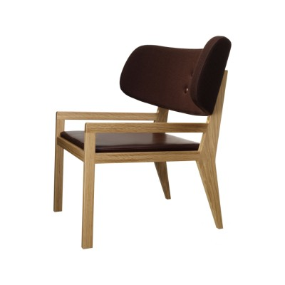 Cartoon Easy Chair with Leather Seat Oak Natural Lacquer, Elmo Baltique 93002, Europost 2 Colour 61052