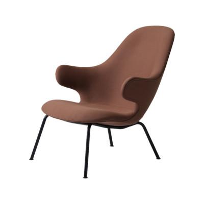 Catch JH14 Lounge Chair Warm black powder coated, Camo Leather Silk 0197 Cream