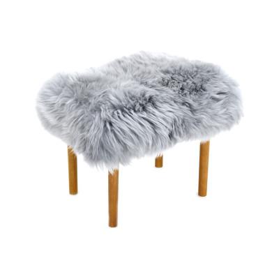 Ceri Sheepskin Footstool  Silver
