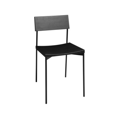 CH03 Henning Dining Chair Jet Black Stained Oak, Stainless Steel