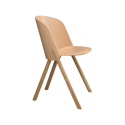 CH05 This Dining Chair Neutral, Clear Lacquered Oak Veneer