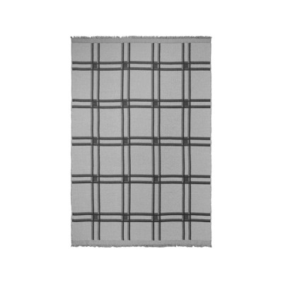 Checked Wool Blend Blanket - Set of 2 Grey