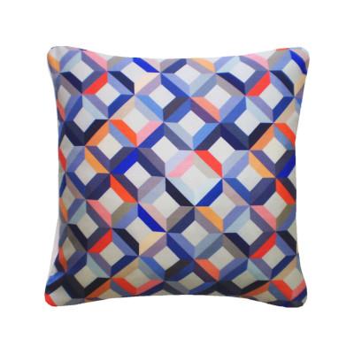 Chevron Printed Square Cushion  Coral Grey