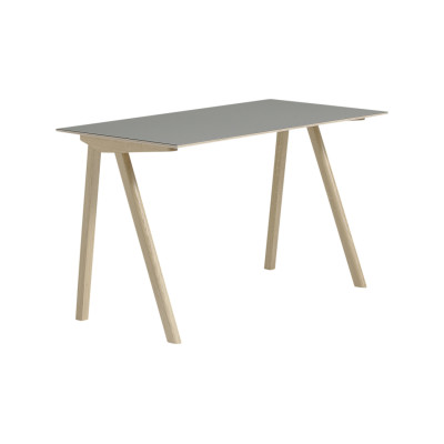 Copenhague Linoleum Top Desk CPH90 Matt Lacquered Solid Oak Base, Grey Linoleum Top
