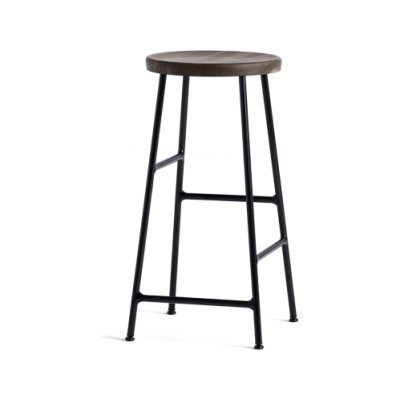 Cornet Bar Stool Solid Oak Smoked, Powder Coated Steel Soft Black, Low