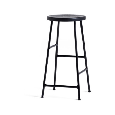 Cornet Bar Stool Solid Oak Soft Black, Powder Coated Steel Soft Black, Low
