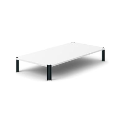 Crossing Coffee Table, Rectangular White Open Pore Lacquered On Oak, Black Anodised Aluminium, 200cm