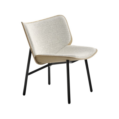 Dapper Armchair Black Frame, Clear lacquered Oak Seat Colour, Remix 612 Upholstery, Standard Glider, CMHR foam yes