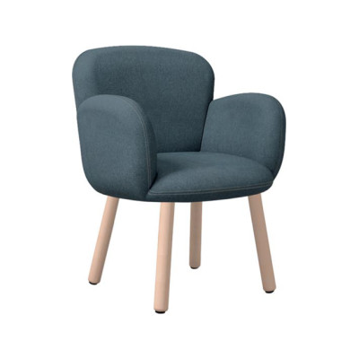 Dento Armchair Wooden Base Pelle Soft Leather Soft 2005, Frassino Ash Wood 113
