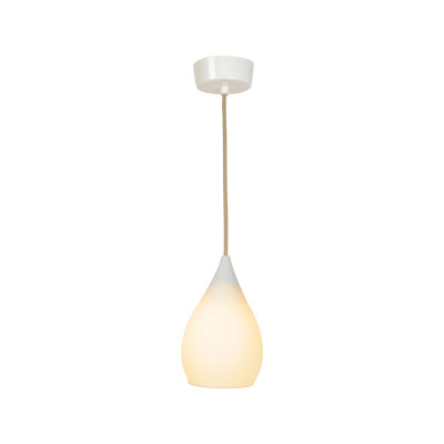 Drop One Pendant Light Natural White Matt, Medium