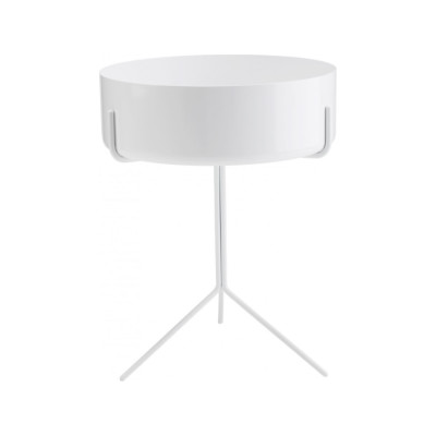 Drum Low Bowl Table Yes, 56 x 40, White Steel