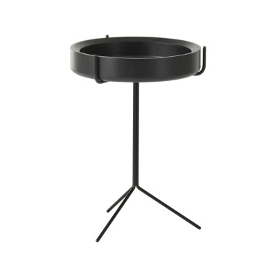 Drum Table 56 x 40, White Steel, Ash Wood Natural Lacquer