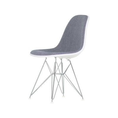 DSR Side Chair with Front Upholstery 30 Basic dark powder-coated,30 Cream,15 Felt glides white for hard floor,Hopsak 70 grass-green/forest,04 white