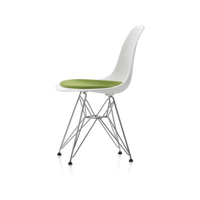 DSR Side Chair with Seat Upholstery 30 Basic dark powder-coated, 30 Cream, 15 Felt glides white for hard floor, Hopsak 70 grass-green/forest