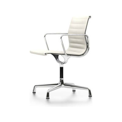 EA 103 Aluminum Chairs - Non Swivel, With Armrests 04 Glides for carpet, Leather Premium 72 snow, chromed aluminium
