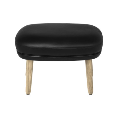Ro Easy Foot Stool With Wooden Legs Elegance Leather Black